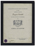 Burgess Meredith Scroll of Honor for His Induction Into the Theater Hall of Fame