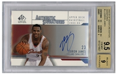 LeBron James Signed 2003-04 Upper Deck Signature Edition, James Rookie Year -- Graded BGS Gem Mint 9.5 & 9 for Autograph
