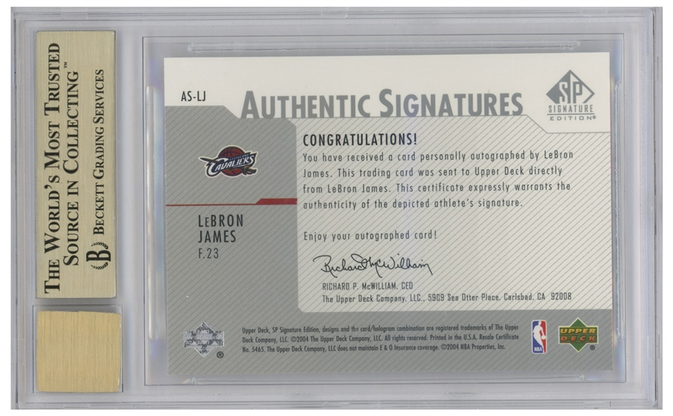 LeBron James Signed 2003-04 Upper Deck Signature Edition, James' Rookie Year -- Graded BGS Gem Mint 9.5 & 9 for Autograph