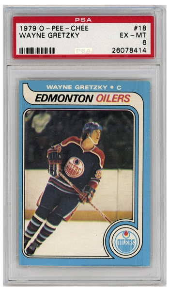 Wayne Gretzky 1979 O-Pee-Chee Rookie Card #18 -- PSA Graded Excellent-Mint 6