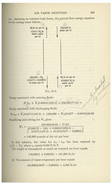 Gus Grissom Personally Owned ''Thermodynamics'' Textbook With Grissom's Ownership Signature & Notes in His Hand -- With Steve Zarelli COA
