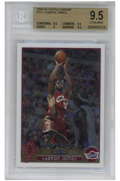 LeBron James 2003 Topps Chrome Rookie Card #111 -- BGS Graded Gem Mint 9.5
