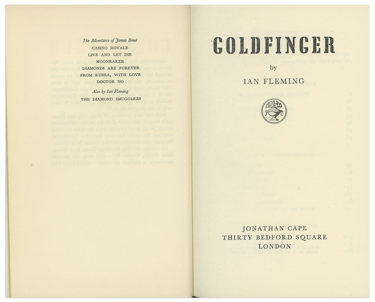 Ian Fleming Signed First Edition, First Impression of ''Goldfinger'' in Original Dust Jacket -- Near Fine Condition -- With University Archives COA