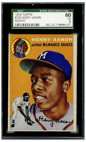 Hank Aaron 1954 Topps Rookie Card #128 -- Graded SGC Excellent 5