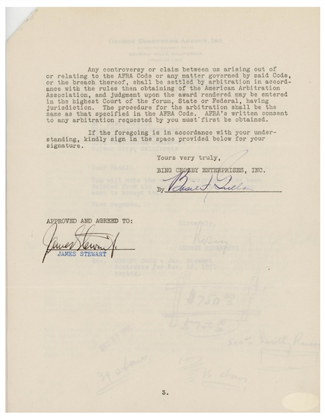 James Stewart Signed Contract to Appear on Bing Crosby's Radio Program -- With JSA COA