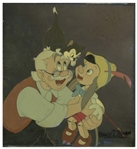 Original Pinocchio Disney Cel From 1939 -- Large Cel of Pinocchio, Geppetto and Figaro Measures 9 x 9.75