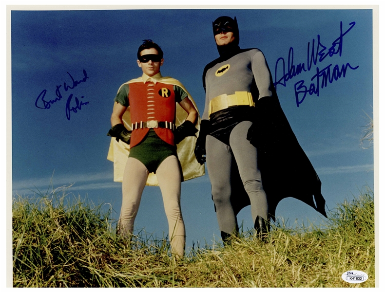 Adam West and Burt Ward Signed 14'' x 11'' Photo From ''Batman'' -- Uninscribed, With Both Men Adding Their Characters' Names -- With JSA COA