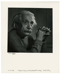Yousuf Karsh Signed Photogravure of His Famous Portrait of Albert Einstein -- Measures 13.375 x 16.5
