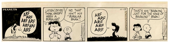 Charles Schulz Hand-Drawn Peanuts Comic Strip From 1960 -- Charlie Brown & Lucy Try to Interpret Snoopys Barking