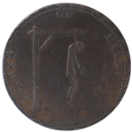 18th Century British Condor Halfpenny Token Showing Thomas Paine as the Hanging Man on Obverse and a Warning of Jacobins on Reverse