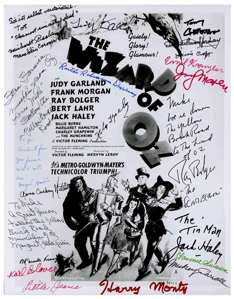 Fantastic ''Wizard of Oz'' 8'' x 10'' Photo Signed by Margaret Hamilton, Ray Bolger, Jack Haley and 18 of the Munchkins