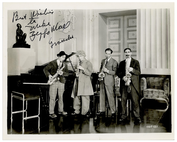 Groucho and Zeppo Marx Signed 10'' x 8'' Photo From the Marx Brothers Film ''Monkey Business''