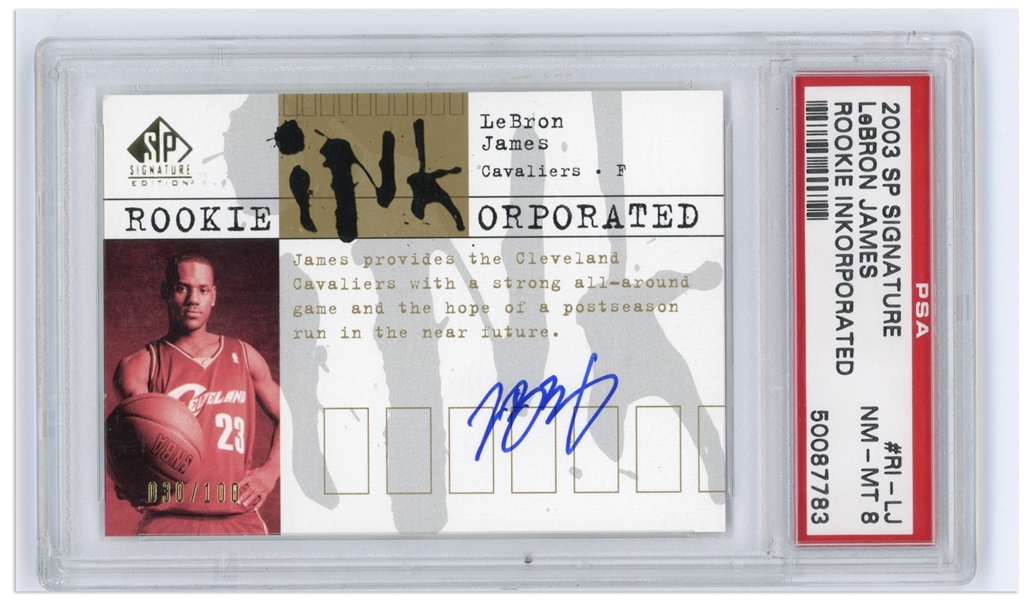 LeBron James Signed 2003 SP Signature Rookie Inkorporated Card -- Limited Edition of 100 -- PSA Graded Near Mint-Mint 8