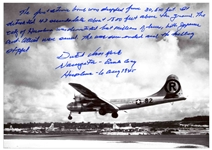Dutch Van Kirk Autograph Statement Signed on a 10 x 8 Photo of the Enola Gay, Regarding Dropping the Atomic Bomb -- ...The war soon ended and the killing stopped...