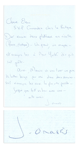 Jackie Kennedy Onassis Autograph Letter Signed -- ''...Please order two more tortoiseshell platters (fake, plastic) from the Dior boutique...''