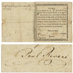 Scarce Paul Revere Signed Bounty Note From 1777 Issued by the Massachusetts-Bay Colony to Fund the Revolutionary War -- Likely Reveres Personally Owned Debt Note -- With University Archives COA