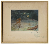 Walt Disney Signed Bambi Cel on Original Production Background, Personally Inscribed to Norman Rockwell