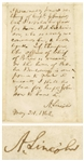 Abraham Lincoln Autograph Endorsement Signed as President for the Position of Chief of Police