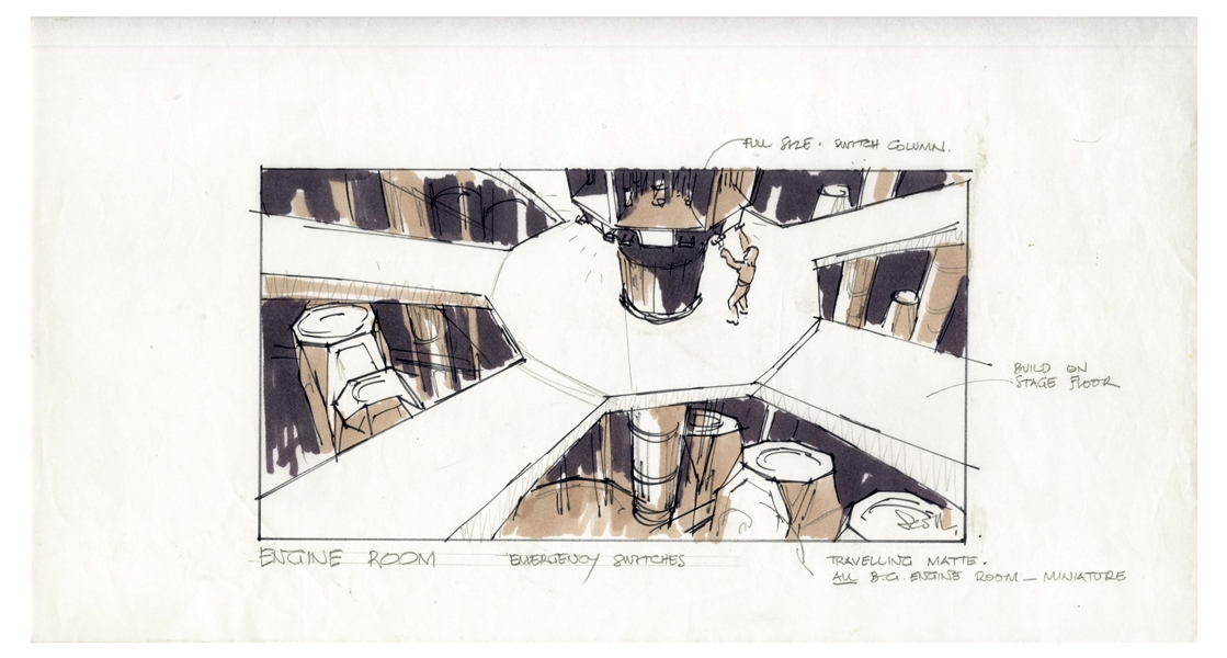 Early Concept Art for ''Alien'', Done in 1977 -- Showing the Engine Room of the Nostromo Spaceship