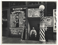 Berenice Abbott Signed 14 x 11 Photograph of Blossom Restaurant, 103 Bowery between Grand and Hester Streets