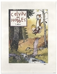 Bill Watterson Signed Limited Edition Lithograph of Calvin and Hobbes -- One of 1,000 Prints Sent to Newspaper Editors After Watterson Came Back From a 9 Month Sabbatical in 1992