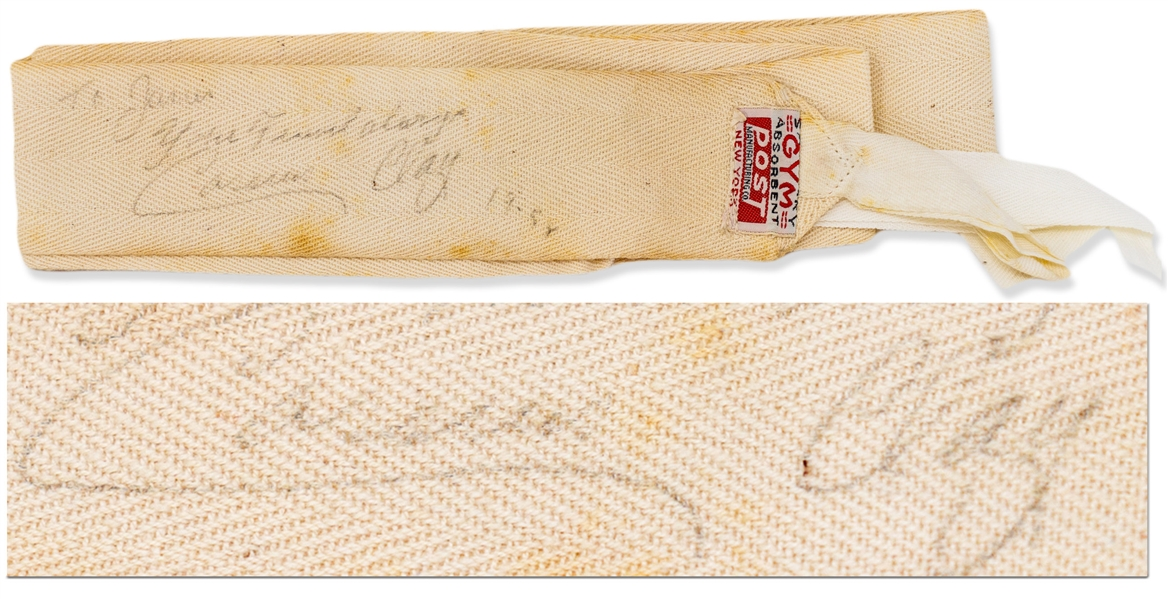 Muhammad Ali Personally Worn and Signed Hand Wrap From 1958 as Cassius Clay During His Amateur Career in Louisville, KY -- With COAs From Craig Hamilton & Peter Morkovin