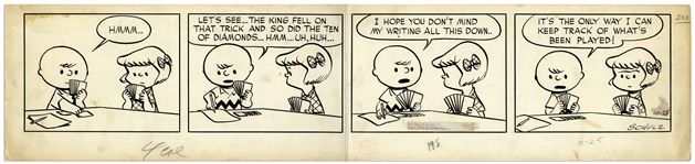 Charles Schulz Original Hand-Drawn Peanuts Comic Strip From 1952 -- Charlie Brown & Patty Play Bridge