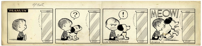 Charles Schulz Original Hand-Drawn Peanuts Comic Strip From January 1953 -- In this Early Strip, Linus & Snoopy Battle Over the TV & Linus Is Shown Without His Blanket