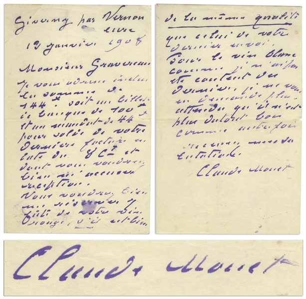 Claude Monet Autograph Letter Signed -- Monet Orders Red Wine From His Wine Merchant But Says the White Isn't as Good Anymore