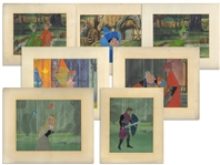 Lot of 7 Original Sleeping Beauty Cels, Including Large Cels of Aurora and Prince Philip