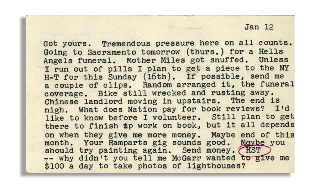 Hunter S. Thompson Letter While Working on ''Hell's Angels'' in Early 1966 -- ''...a Hells Angels funeral. Mother Miles got snuffed...''