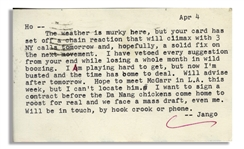 Hunter S. Thompson Letter From 1966 With Vietnam War Content -- ...I want to sign a contract before the Da Nang chickens come home to roost for real and we face a mass draft, even me...