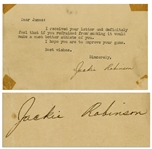 Jackie Robinson Postcard Signed, Urging Someone to Stop Smoking -- ...if you refrained from smoking it would make a much better athlete of you...