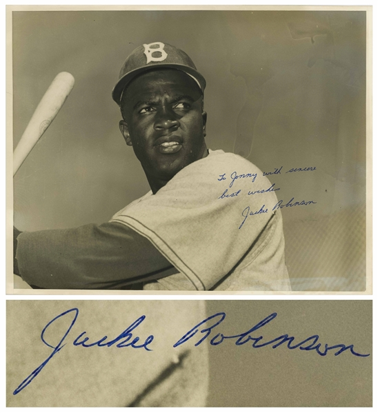 Jackie Robinson Signed 14'' x 11'' Photo -- With PSA/DNA COA