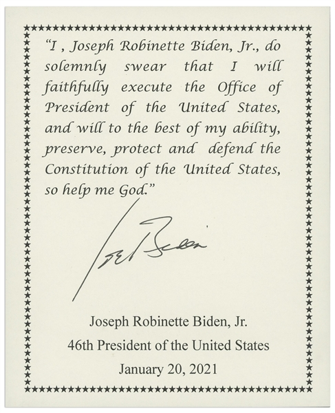 Joe Biden Signed Souvenir Presidential Oath of Office