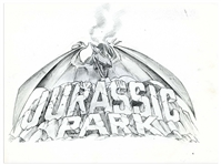 Original Jurassic Park Sketch Created in Development for the 1993 Film -- Drawing Shows a Fearsome Pterodactyl Over the Words Jurassic Park Logo