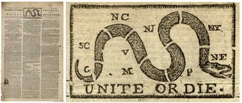 Benjamin Franklins Newspaper From 1774 With the Famous Unite or Die. Masthead