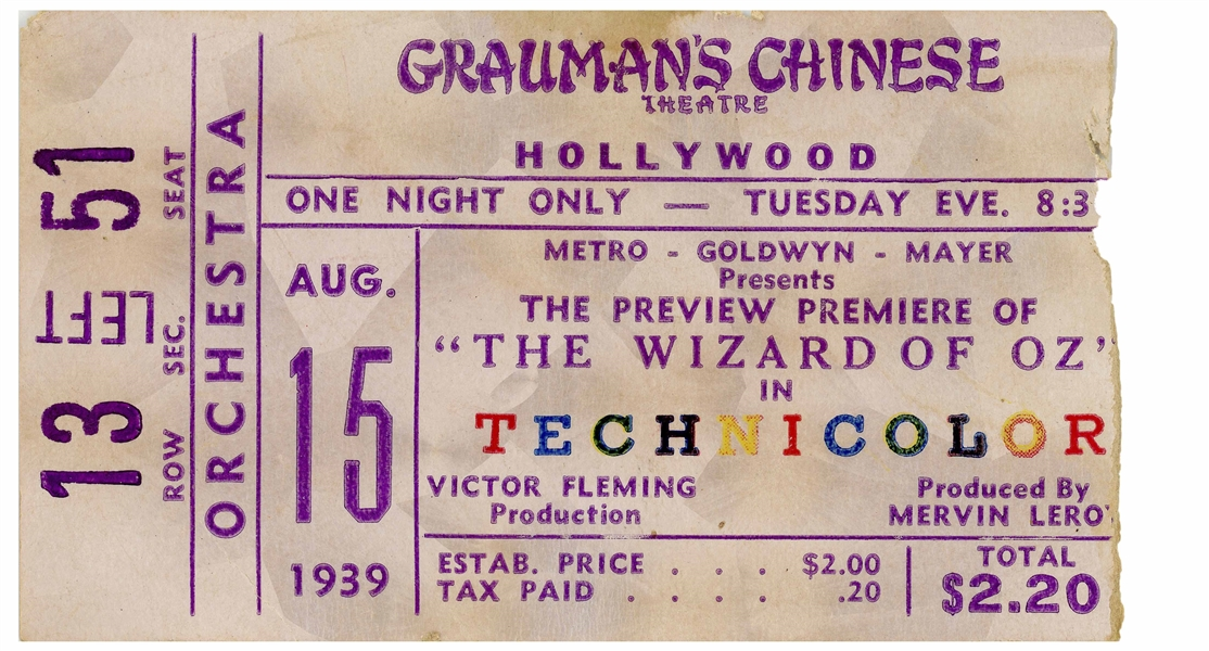 Ticket From ''The Wizard Of Oz'' Hollywood Premiere at Grauman's Chinese Theatre on 15 August 1939