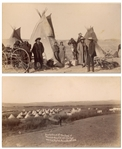 Two Original Photographs From 1890-91 of the Pine Ridge Agency, Near the Site of the Wounded Knee Massacre -- One Photograph Depicts the 7th Cavalry Encapment Just Days Before the Massacre