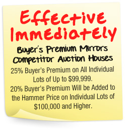 Effective Oct. 29th, Buyer's Premium Mirrors Competitor Auction Houses. 25% Buyer's Premium on All Individual Lots of Up to $99,999. 20% Buyer's Premium Will be Added to the Hammer Price on Individual Lots of $100,000 and Higher.