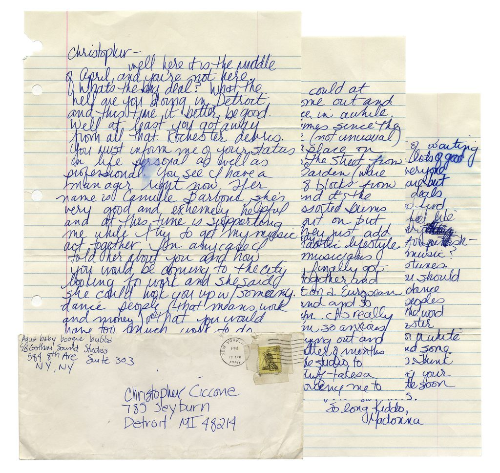 """Madonna Memorabilia Madonna Autograph Letter Signed From 1981, With Fantastic Content -- """"…I finally found a place on 8th and 30th across the street from Madison Square Garden (where someday I'll play)…"""""""