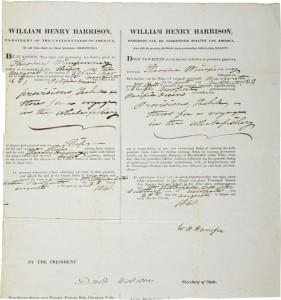 william henry harrison autograph