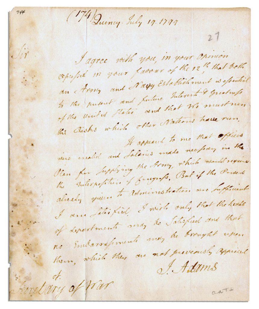 John Adams Autograph Letter