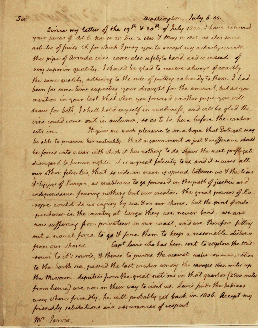 Letter Thomas Jefferson Thomas Jefferson Autograph