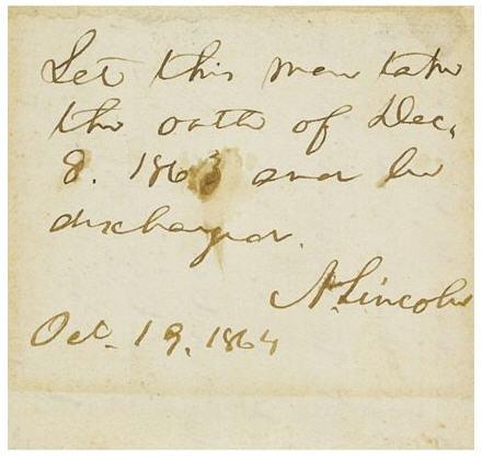 Abraham Lincoln Autograph.