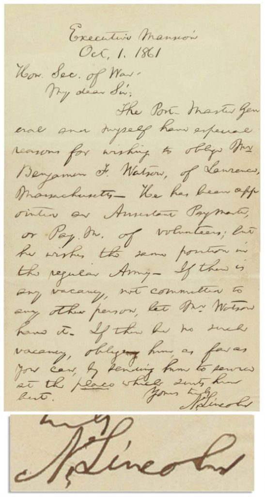 Abraham Lincoln Autograph