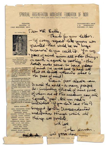 Beatles memorabilia John Lennon Autograph Letter Signed Advocating Meditation