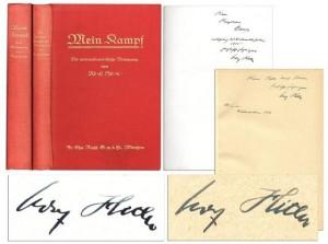 Hitler memorabilia Mein Kampf Adolf Hitler Autograph