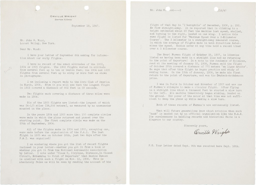 Wright Brothers Autograph Orville Wright typed letter signed from Dayton, Ohio,