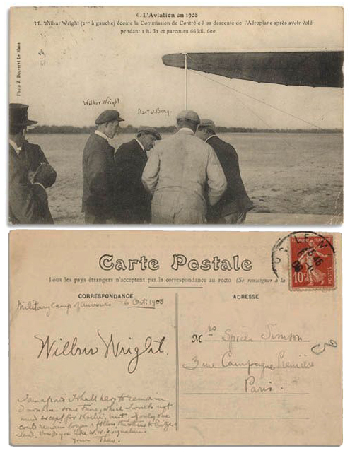 Wright Brothers Autograph Wilbur Wright signed postcard